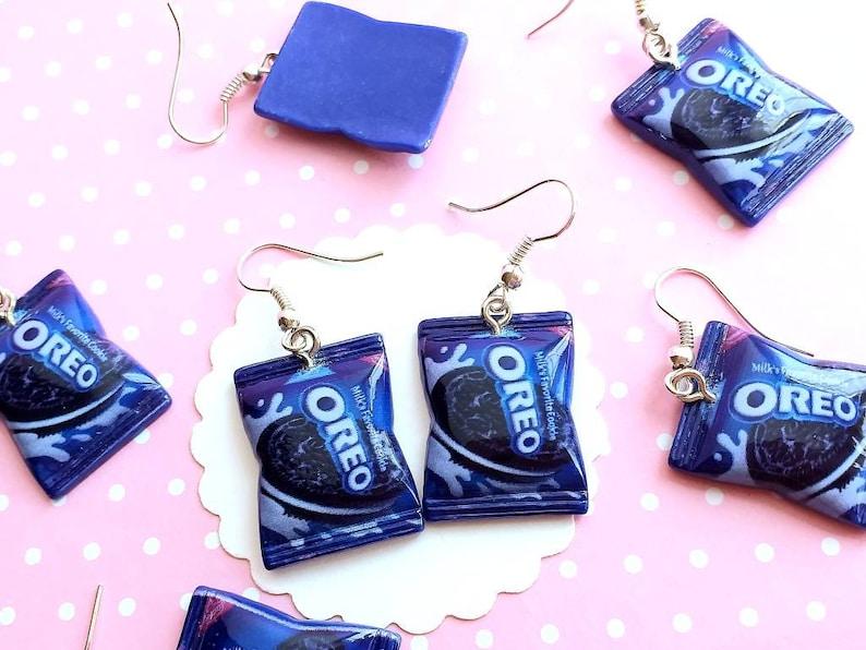 Gift Cookies Bag Earrings -Food Jewelry Cookies Miniature Food- Dangle Earrings Kawaii Jewelry