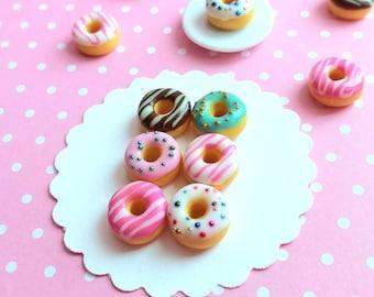 6 pcs Dollhouse Miniature Mixed Donuts, Fake Food, Miniature Food, Dollhouse Food, Handmade, Miniature Bakery, Polymer Clay