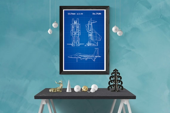 Transformer Set of 6 Patent Prints Blueprint Decor Vintage Poster Wall Art Gift