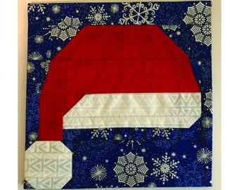 """PDF, Santa Hat Quilt Pattern, 8""""x8"""" Quilt Block, Paper Piecing, Christmas Quilt"""