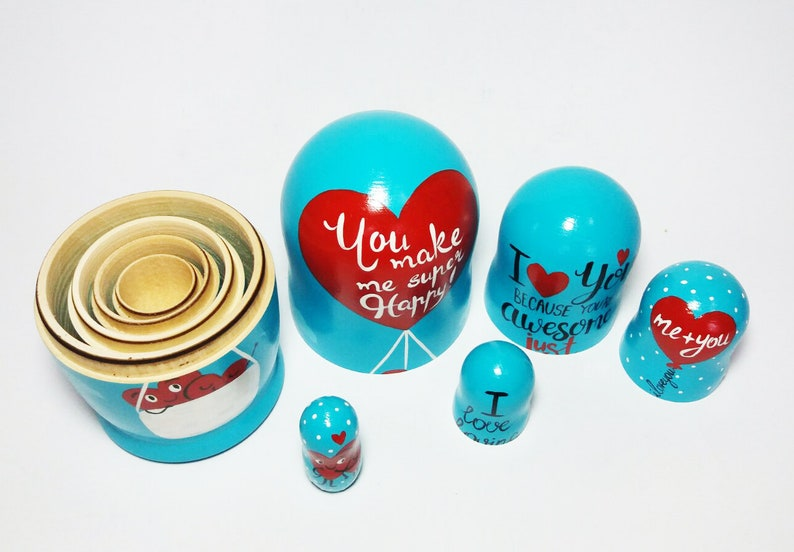 You make me happy Nesting doll Soul mate gifts I love loving you Symbols of love Hearts Full of love sign Shelf decor For him For her