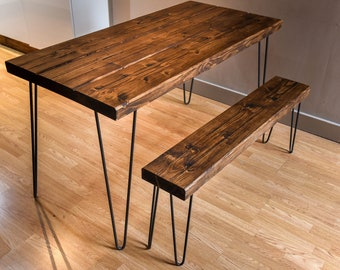Reclaimed wood dining table with hairpin legs - Industrial rustic farmhouse  style handmade from chunky wooden beams. UNSWORTH 4 to 6 seater b37c690df