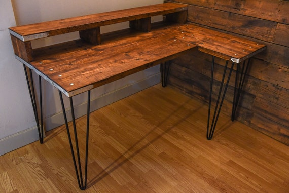 best service 851d6 f295c Corner desk for home office made in reclaimed wood and hairpin legs.  Industrial L shaped wood desk. Custom made handcrafted in Manchester