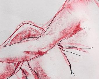 pink woman, original sketch