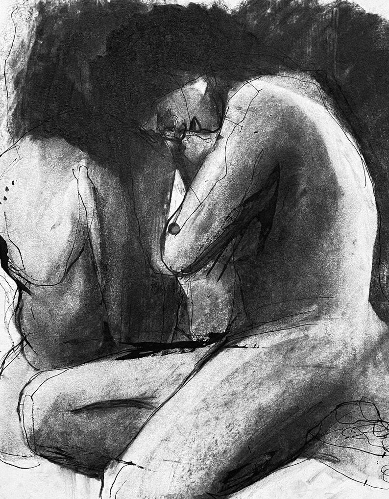0113 Original pen and charcoal art Nude couple