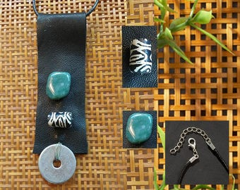 Pendant Necklace of Leather, Bead, Stone + Metal