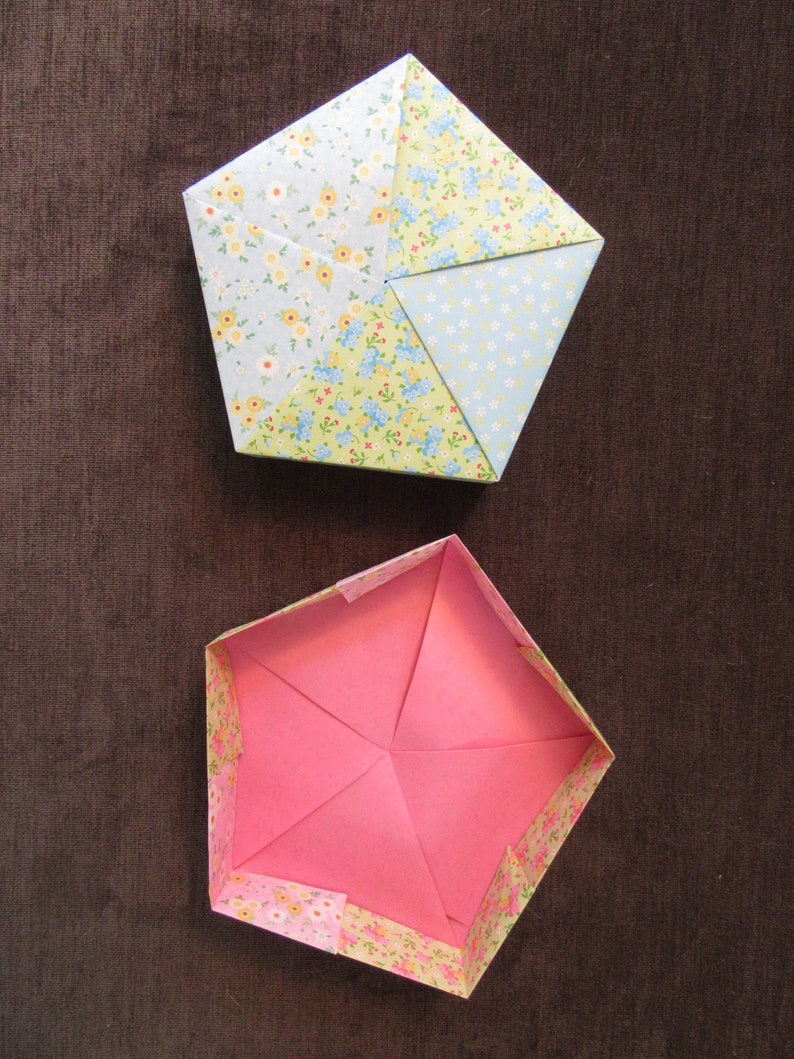 Origami gift box with lid hand folded 5-sided box with floral patterned paper and geometric folding pattern