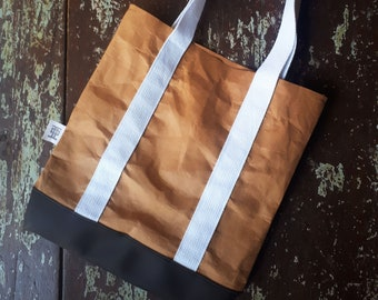 Tote, bag, shoulder back, brown paper, washable paper, leather, reusable, eco, life lasting, unique, original