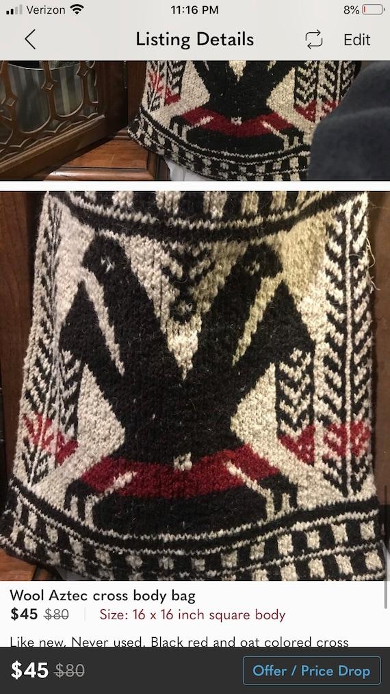Wool cross body bag aztec