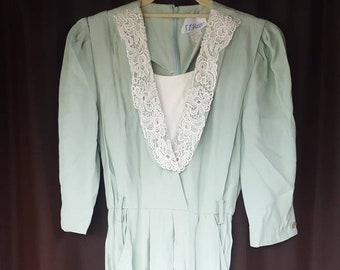 1980er Jahre Kleid, Vintage Kleid, Kleid mit Taschen, Sommer, Größe kleine Kleid, 1980er Jahre Mode, Vintage grünen Kleid, Knielanges Kleid