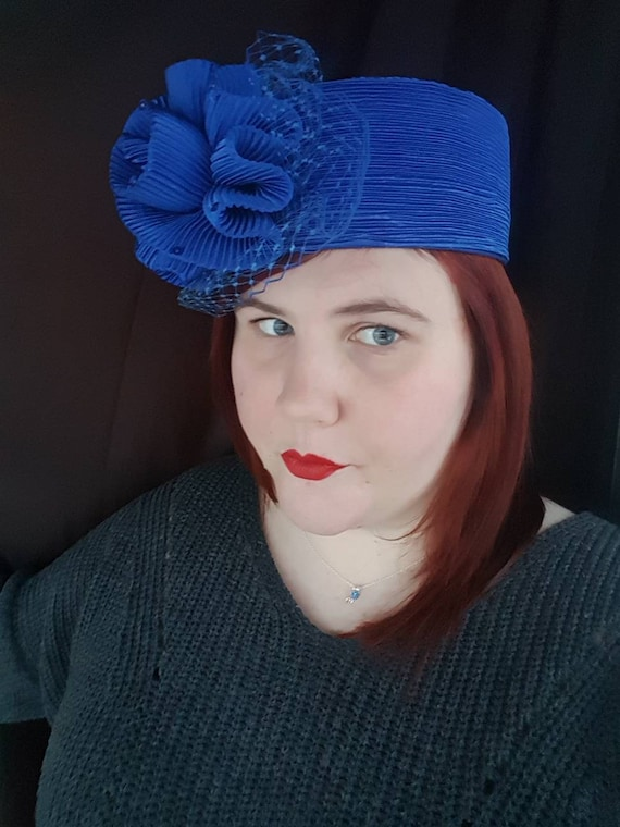 Vintage Pillbox Hat Costume Hat Hat Vintage Hat Blue  b90f6264826