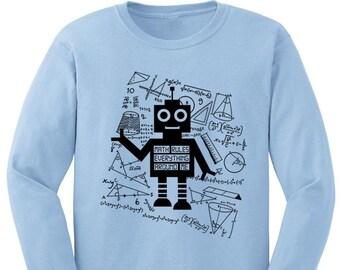 57d32e3d9 Robot Shirt Nerd Kids Clothes Math Shirt STEM Long Sleeve Tee T-shirt  Toddler Youth Girls Boys Science Shirt Math Rules Everything Around Me