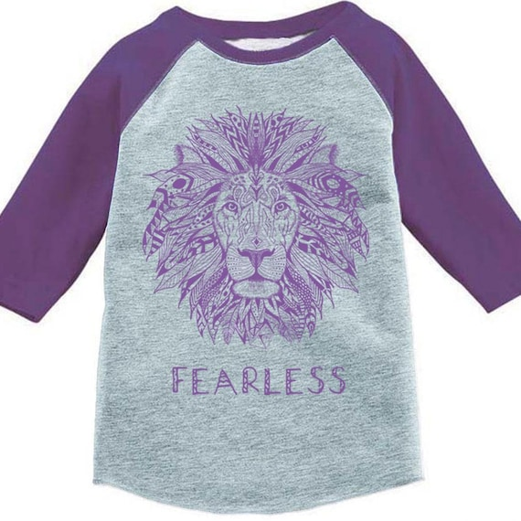 cc0b9f61 Fearless Lion Shirt, Kids Clothes, Back to School, Baseball Tee Tshirt  Toddler Youth Girls Boys Strong Positive Message Empowered Boys Girls
