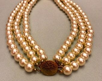 Vintage Triple strand Faux Pearl Necklace w/ clasp