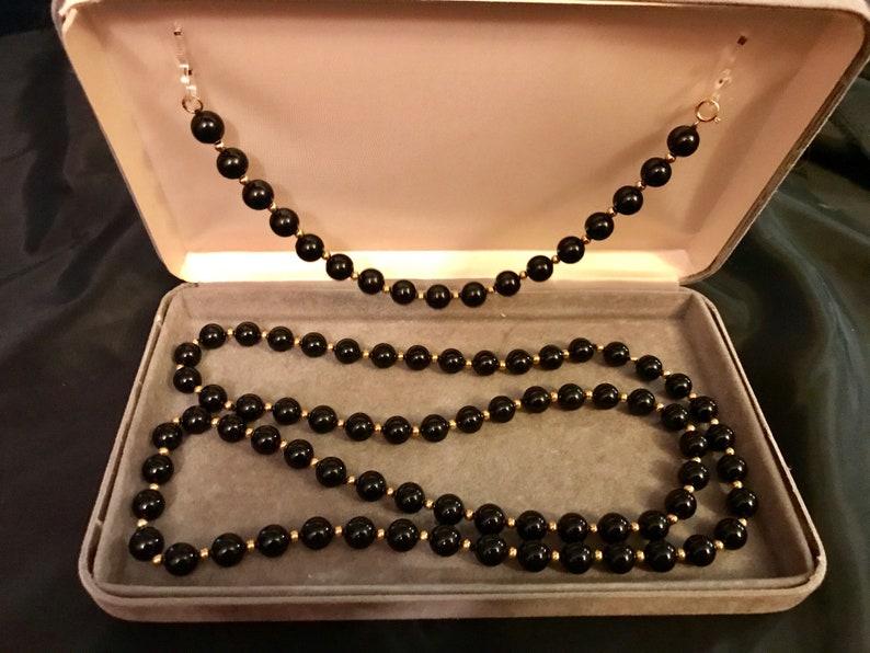 Vintage black and gold necklace and bracelet set