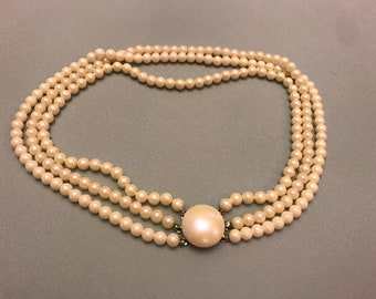 Vintage Triple Strand Faux Pearly Necklace