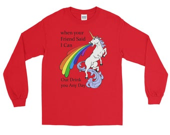 Funny Unicorn Drinking Long Sleeve T-Shirt