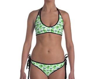 Alien Ufo Bikini, Womens Bikini Custom Bikini , Custom Dancing Aliens, Space Ship Bikini ,