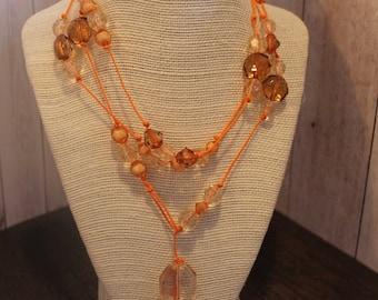 Orange Leather Wrap Necklace Boho Jewelry Hippie Jewelry Handmade Jewelry Boho Necklace Hippie Necklace Bohemian Jewelry Choker Necklace