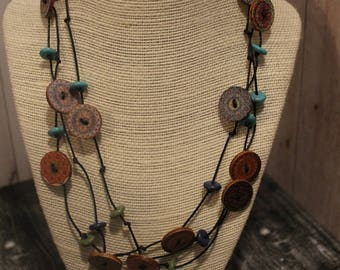Vintage Button Leather Wrap Necklace Boho Jewelry Hippie Jewelry Handmade Jewelry Boho Necklace Hippie Necklace Jewelry Choker