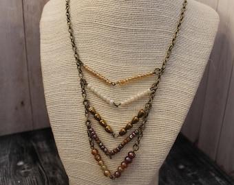 Amber Chevron Boho Statement Necklace Boho Jewelry Hippie Jewelry Handmade Boho Hippie Necklace Bohemian Jewelry Bohemian Statement Necklace