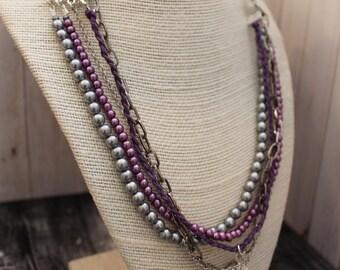 Purple Boho Multi Strand Necklace Boho Jewelry Hippie Jewelry Handmade Boho Necklace Hippie Necklace Bohemian Jewelry Pendant Necklace
