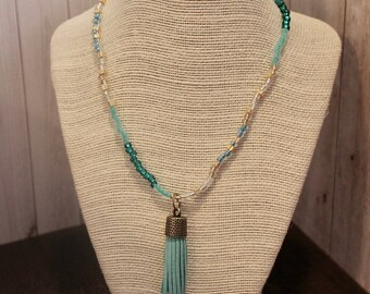 Turquoise and Gold Beaded Tassel Pendant Necklace Boho Jewelry Hippie Jewelry Handmade Jewelry Boho Necklace Hippie Necklace Bohemian