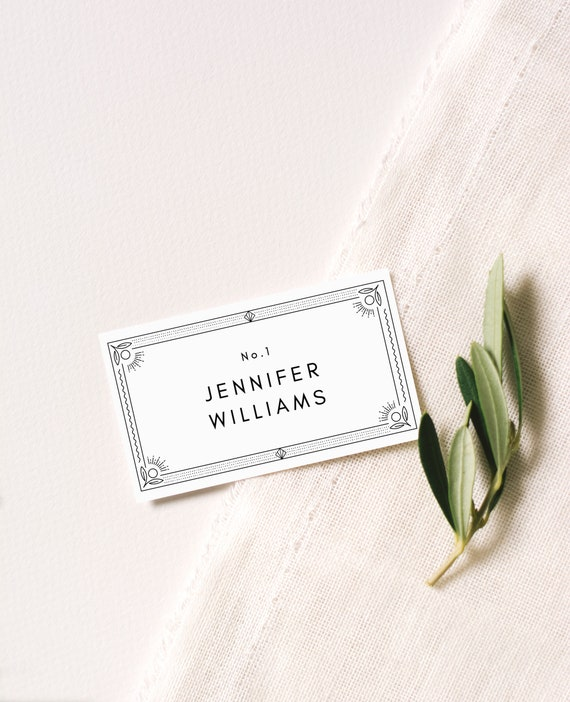 Wedding Place Cards Great Gatsby Escort Cards Place Card Template Art Deco Place Card