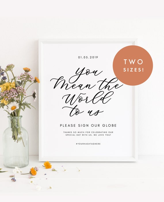 photograph relating to Printable Globe Template called Planet Guestbook - Indicator our World - Guestbook Signal - Marriage ceremony Signal - Printable - Template