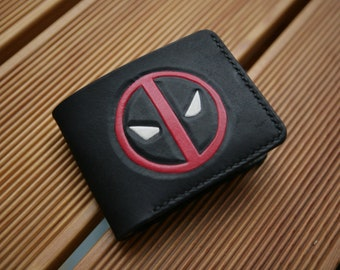 eccf5cd7 Deadpool Leather Handcrafted Geek Wallet, Handmade Leather Wallet, Perfect  Leather Gift, Deadpool Fan Birthday Gift, Marvel Wallet