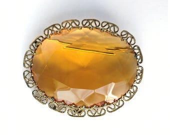 Vintage Large Costume Oval Brooch Transparent Amber Topaz Glass  Gold-toned Filigree 1960s