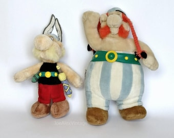 """Pair Asterix Obelix Vintage Collectable Soft Toys by Goscinny Uderzo 1994 Germany 10"""" 13"""" Blue Red Black Green"""