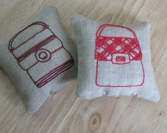 Pair of hand embroidered lavender sachets - red & burgundy handbags