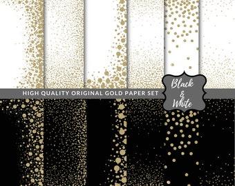 Gold Glitter Confetti Borders Black & White Confetti Digital Paper Gold Papers Confetti Patterns Printable Instant Download Glitter Clip Art