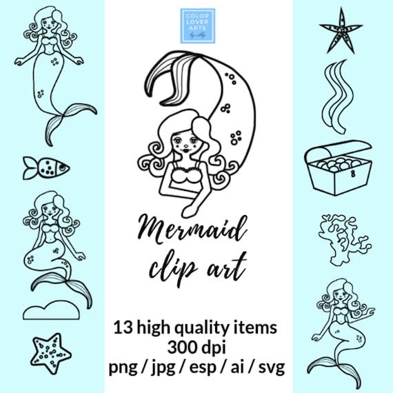 Cute Mermaid Clipart Images Mermaid Icons Instant Download Etsy