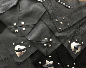 Recycled Leather or Suede Dog 'Kerchief w/ Metal Studs or Conchos