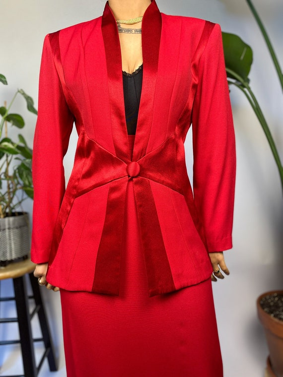1980's Lady in Red 2 Piece Power Suit