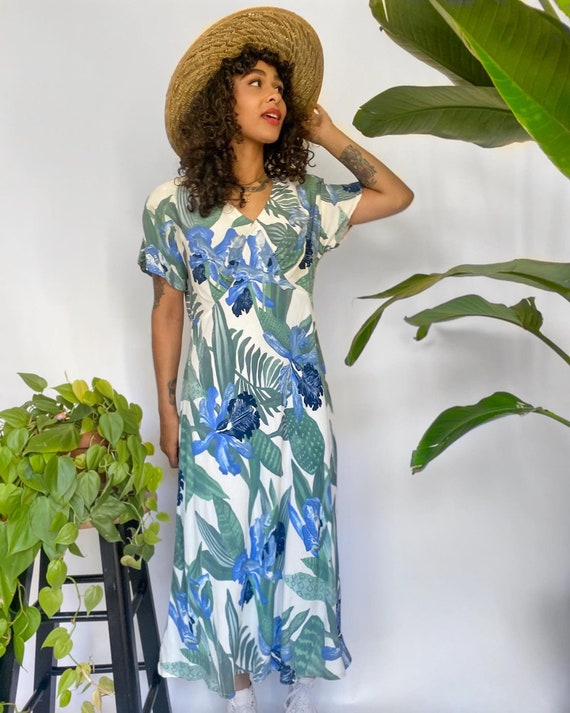 90s Carole Little Petite tropical dress