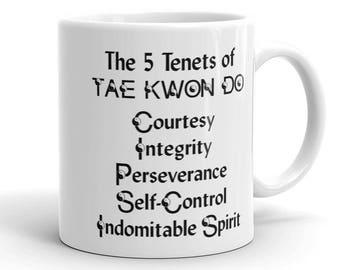 Tae Kwon Do Mug, 5 Tenets of Tae Kwon Do, Martial Arts Coffee Cup, Taekwondo Coffee Cup, Martial Arts Mug, Tae Kwon Do Gift, Instructor Gift
