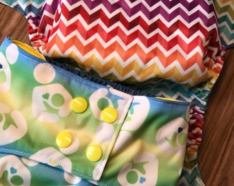 SALE***Chevron Folded Rainbow or Breastfeeding Love = One Size, Newborn, Cloth Pocket Diaper