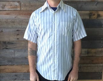Vintage Short Sleeve Button Down Shirt by Elderado University Size 15 White with Blue and Yellow Stripes