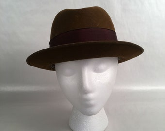 Vintage 1950s Royal deLuxe Stetson Homburg Fedora Size 7 1 8 in Mink Brown f8c3215e6670
