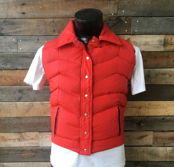 Vintage 1980's Red Winter Puffer Vest with Contras