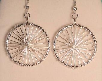 Silver Wire Wrapped Dangle Earrings