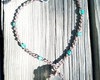 Hemp necklace with large glass pendant