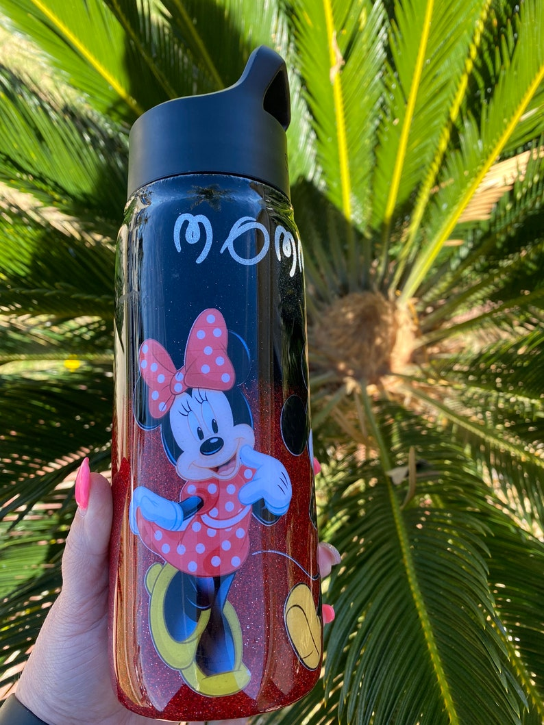 Mickey and Minnie Mouse Glitter Tumbler or water bottle