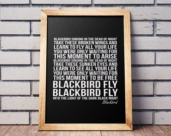 Blackbird lyrics etsy more colors stopboris Images