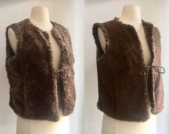 Cool Vintage PATCHWORK SHEARLING Leather Boho Vest / REVERSIBLE / Hidden Pockets