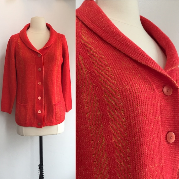 60's Vintage CHEVRON OMBRE Ribbed KNIT Cardigan /
