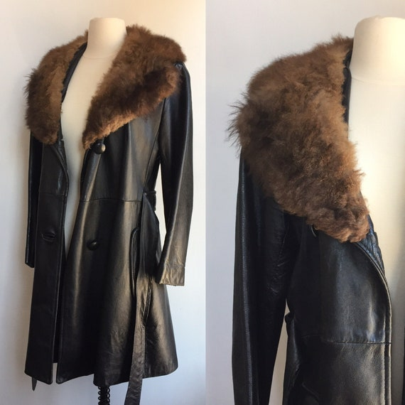 Vintage 70's PENNY LANE Leather Trench Jacket Coat